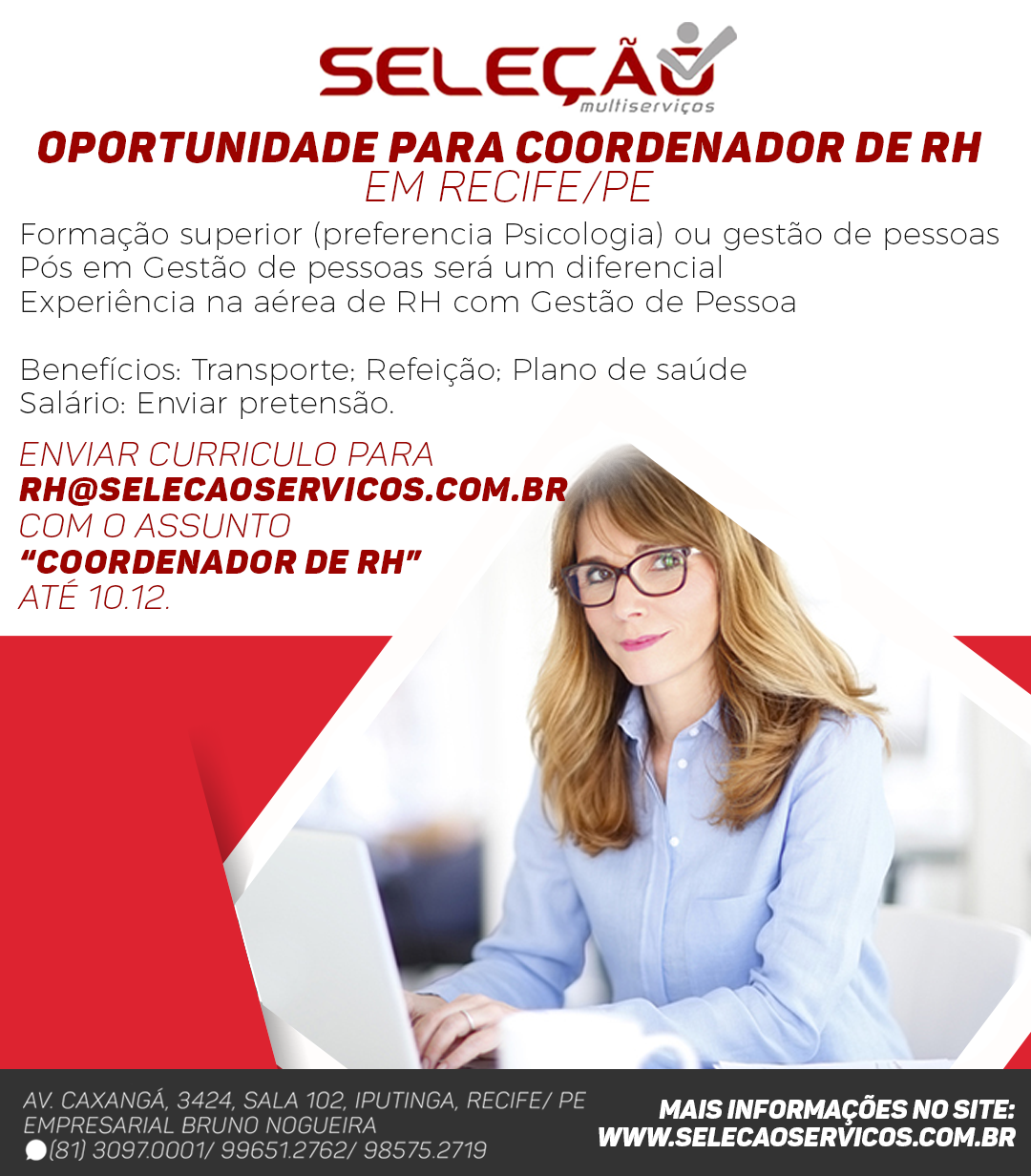 Oportunidade para Coordenador de RH